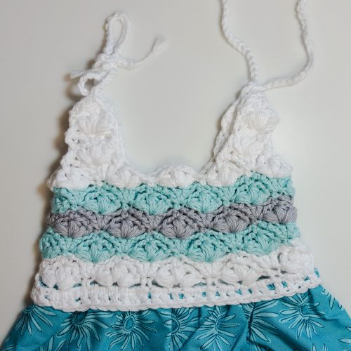 Petal Stitch Half Crocheted Baby Girl Dress and Headband Pattern