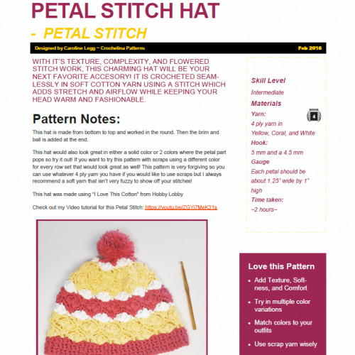 Petal Stitch Winter Hat
