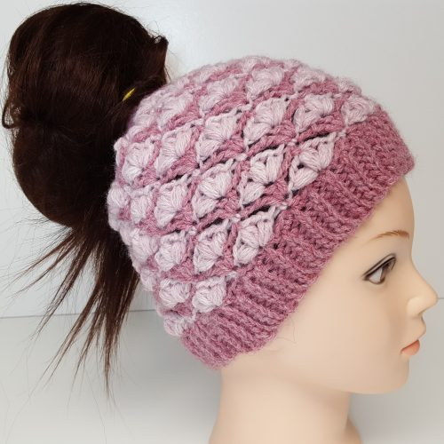 Petal Stitch Messy Bun Hat